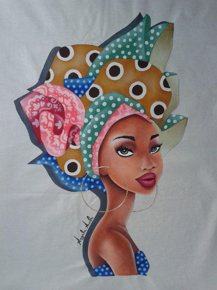 Mais uma africana. Mulher negra. Inspirada da pintura de Raul Guerra.