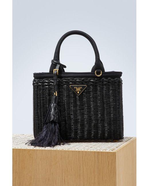 69dcd8cfd15489 GABRIELLE'S AMAZING FANTASY CLOSET | Prada - Black Straw Handbag With A  Strap - Lyst