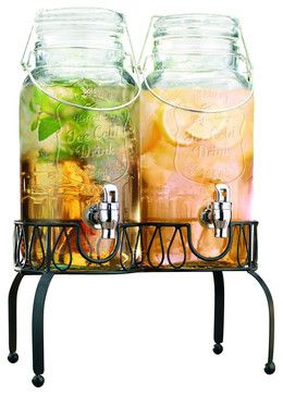 Twin Ice Cold Mason Jar Drink Dispenser traditional cups and glassware