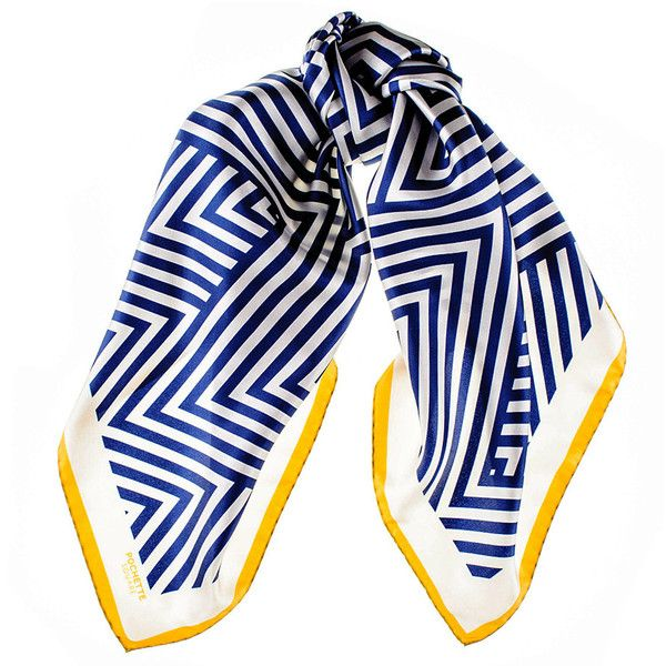 Black Navy and White Geometric Italian Silk Square Scarf (165 CAD) ❤ liked on Polyvore featuring accessories, scarves, silk scarves, pure silk scarves, black shawl, chevron scarves and black scarves