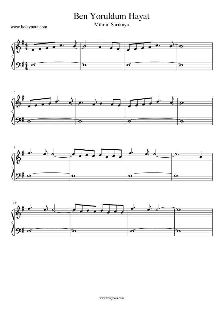 Ben Yoruldum Hayat Kolay Piyano Notasi Nasil Calinir Notasini Pdf Ve Jpg Olarak Goruntuleyebilirsiniz 2021 Piyano Flut Hayat