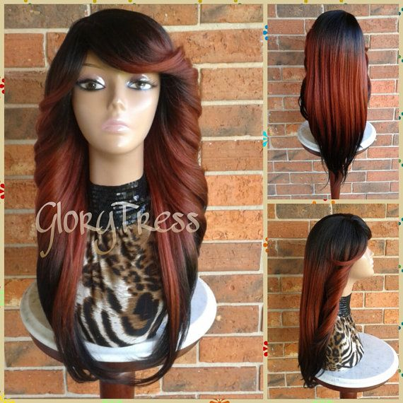 ON SALE // Feathered Flip Full Wig, Red Ombre wig, Long Yaki Full Wig, African American Wig // FIERCE (Free Shipping)