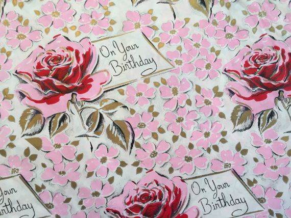 595 best holiday wrapping paper images on pinterest vintage vintage gift wrapping paper mid century happy birthday red and pink flowers for her mightylinksfo