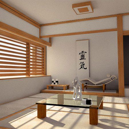 Japanese Living Room Ideas With Wooden Sunshade