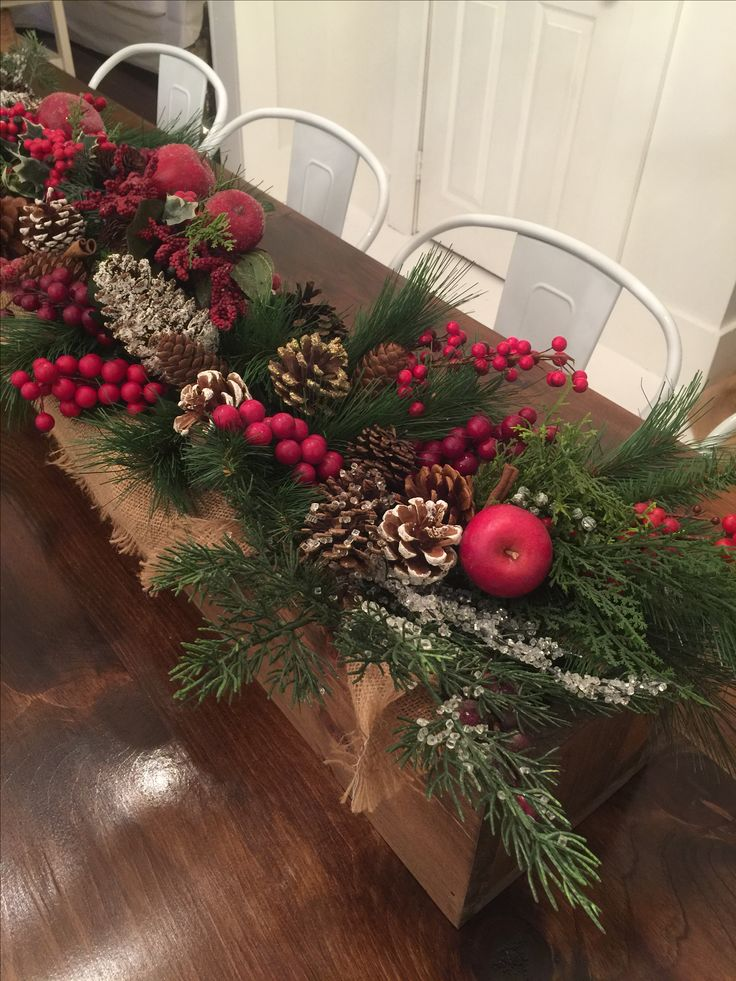 Wooden Box Christmas Centerpiece With Burlap Berries