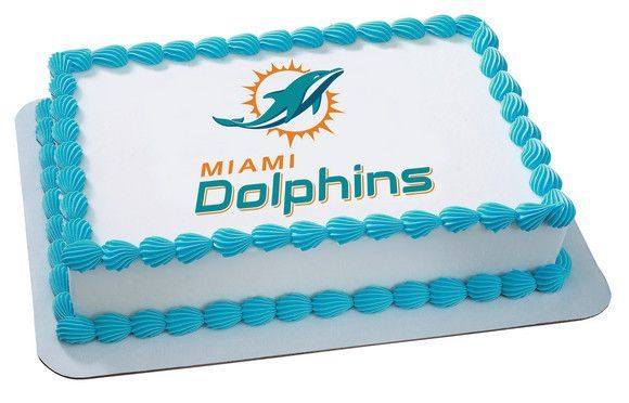 NFL Miami Dolphins Edible Icing Sheet Cake Decor Topper