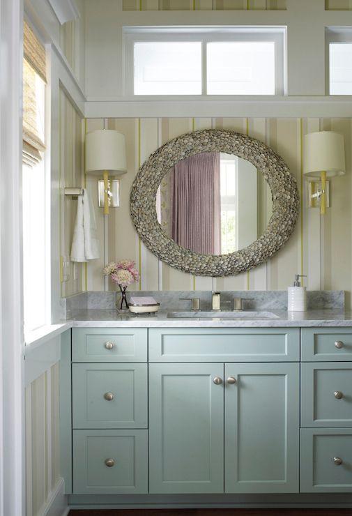 Coastal Bathroom Design Blue Vanity In Sw Quietude