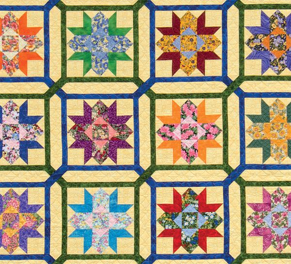 Detail of Laurel Wreath and Garden Maze quilt, I love the block settings