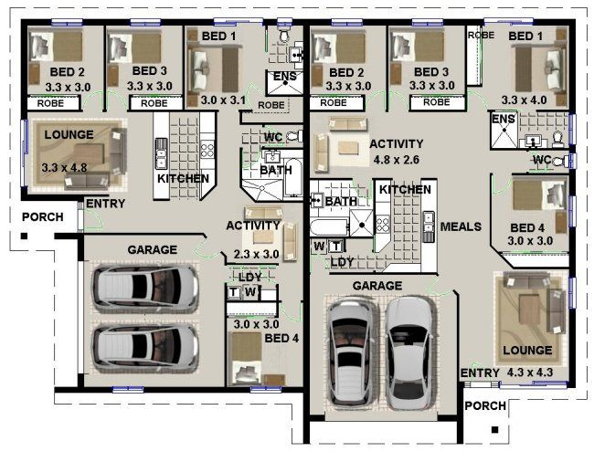 Duplex Floor Plans With Double Garage Duplex Design  Bedroom Double Garage House Plans