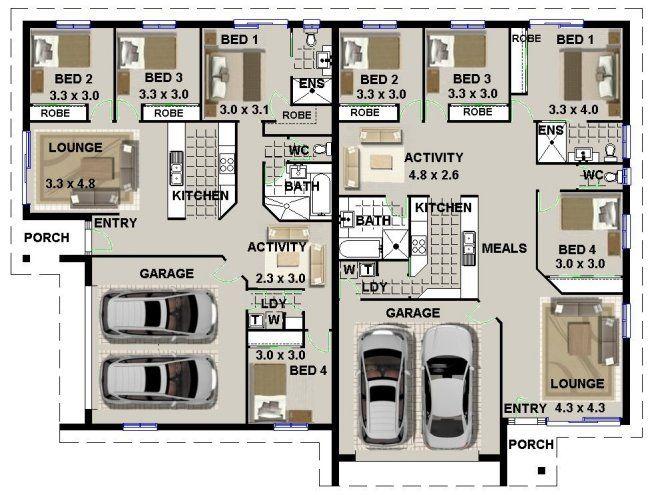 Duplex Floor Plans With Double Garage Duplex House Plans With 2 Car Garage