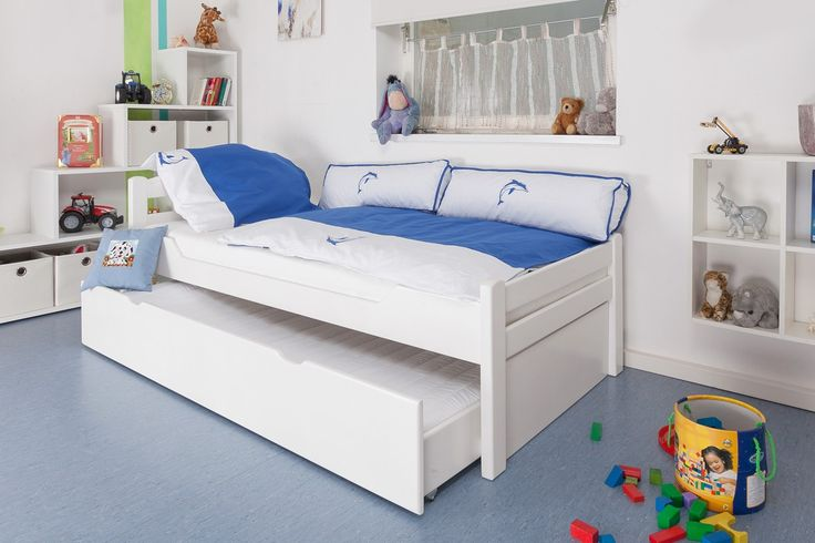 """Children's bed / Youth bed """"Easy Sleep"""" K1/2h incl. trundle bed frame and cover plates, solid beech wood, white - 90 x 200 cm"""
