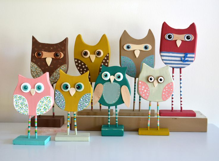 Handmade owls  from driftwood.