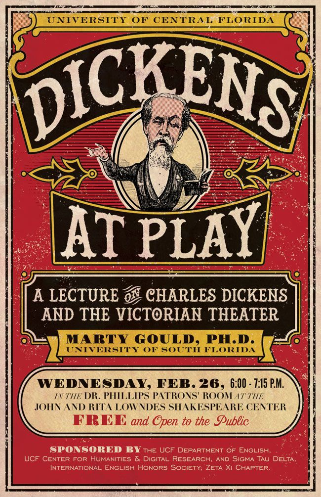 Another Victorian-themed poster for a lecture on Charles Dickens