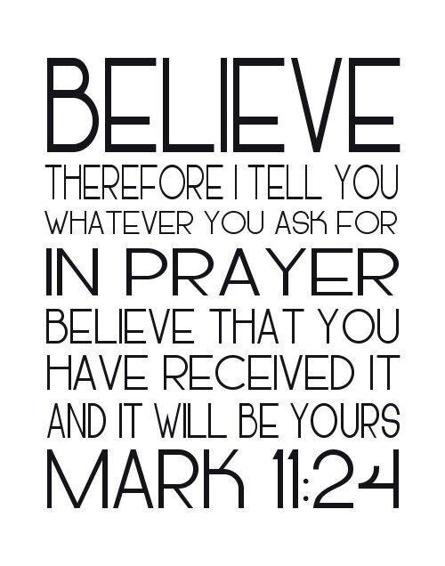 Believe Mark 11 24 Printable Download Word Art Poster 8x10 16x20 black white modern chic