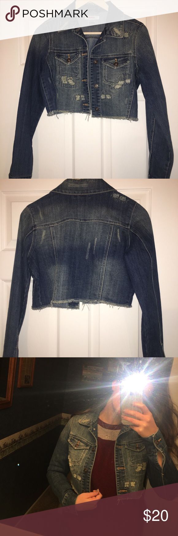 Cropped Jean Jacket 💙 Denim is in ladies 💙💙 This cropped denim jacket is perfect for this summer ☀️ Last 2 pics are some inspiration. Ps check the prices on similar jackets in the last pic!!! This is a steal 💸  Non smoking home 🚭 Make me an offer 💸 Take advantage of my bundle discount BONGO Jackets & Coats Jean Jackets
