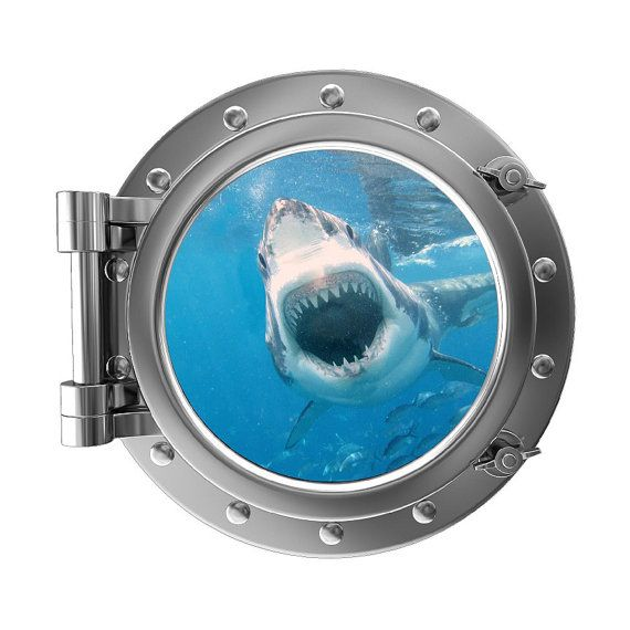 "12"" Portscape Instant Sea Window Great White Shark Attack 1 Wall Decal Porthole Sticker Mural Vinyl Graphic Home Kids Room Art Decor NEW"