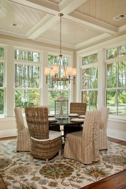 Dining room by Visbeen Architects-  Coastal Vibe...needs coastal style rug though.
