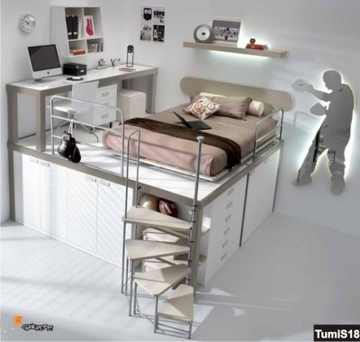 Soppalco con armadio sotto e letto da una piazza e mezzo più scrivania