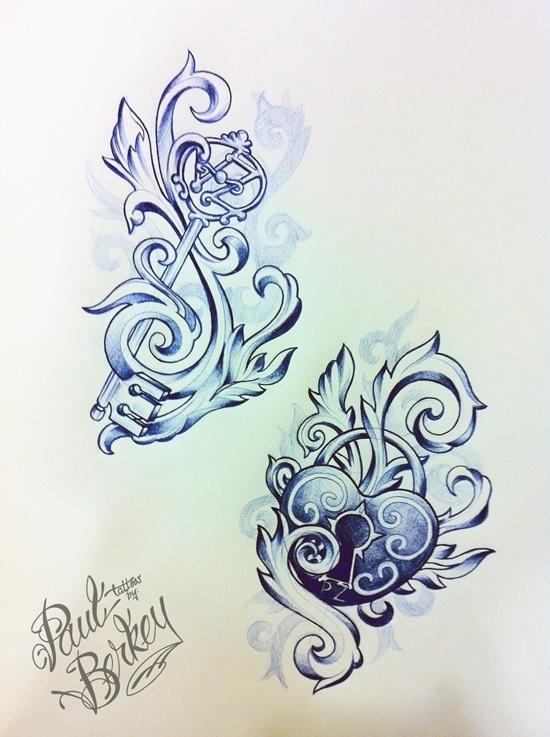 Lock and key tattoos. With hidden initials. I love it!