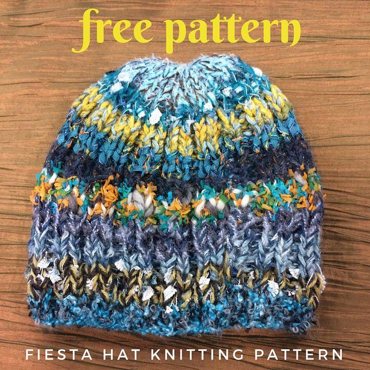 Free Hat Knitting Patterns Using Straight Needles : Fiesta Hat Free Knitting Pattern Nancy dellolio, Flats and Knitting pa...
