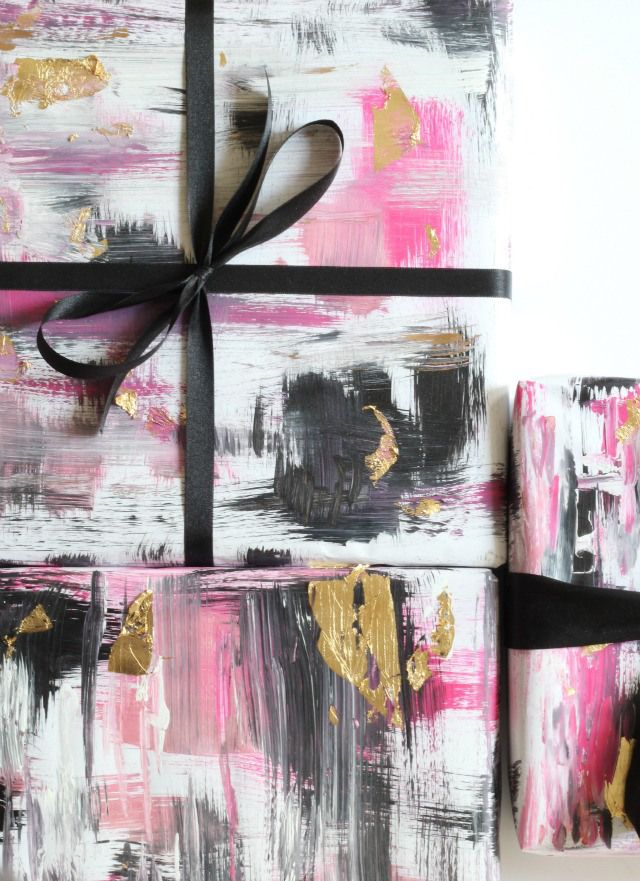 DIY Abstract Gift Wrap-- see the tutorial on Bliss at Home. || @gwhkristy