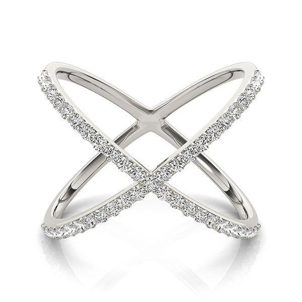 14K White Gold X Design Diamond Ring