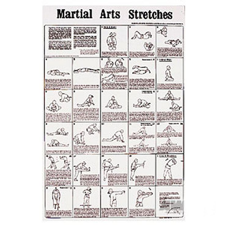 Martial Arts Stretches Poster Help reduce the chance of injury. Over 23 stretches have been fully illustrated and explained and are designed to stretch the entire body. Always stretch before a workout