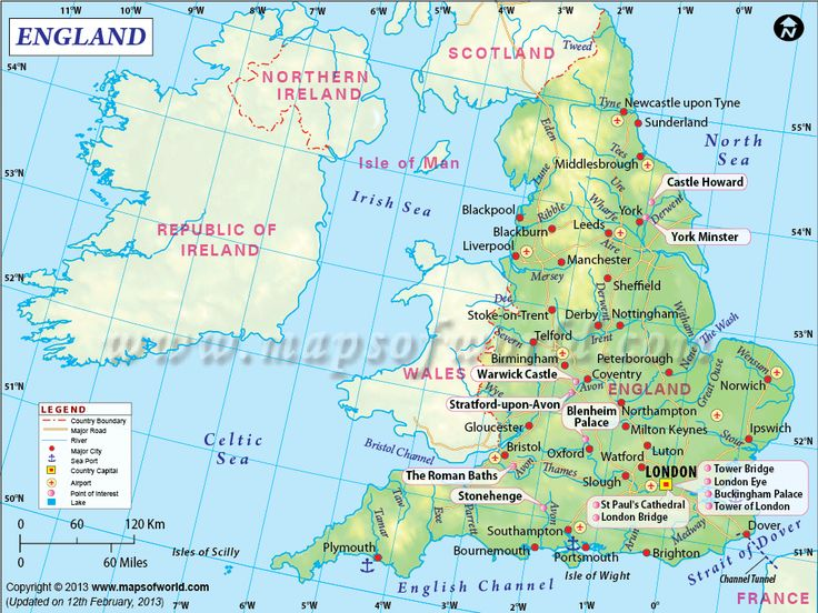 England Map showing the country boundaries, country capital, states, districts, rivers, lakes etc.