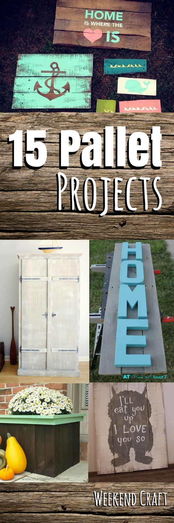 15 DIY Pallet Project tutorial from Pallet signs, art, decor, crafts, shelving, furniture, ikea hacks, gardening and planters.