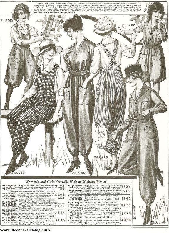 By 1917 many women were also wearing some form of pants as needed for their work during World War One.  Mass market retail and sewing pattern catalogs offered a variety of overall and work pants fo…