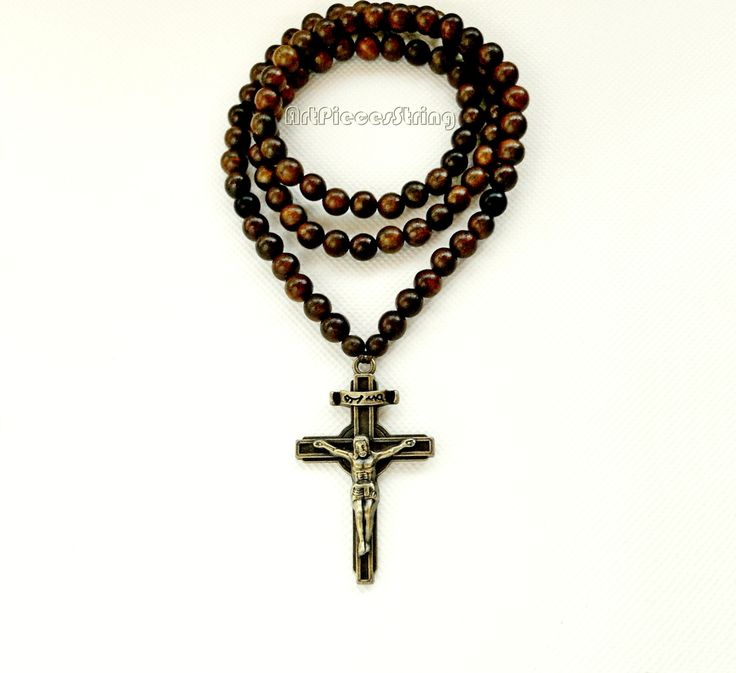 Mens crucifix necklace cross, Jesus Cross large string necklace beads, bronze brown male necklace, Cross Christian wood beads necklace male, by ArtPiecesString on Etsy