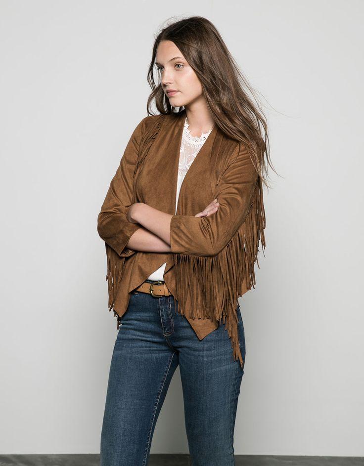 Bershka fringed suede jacket - Coats & Jackets - Bershka Egypt