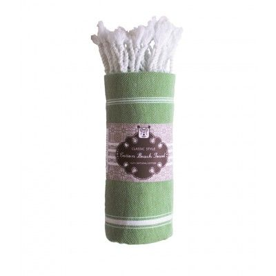 Olive green turkish towel in soft cotton with thin white stripes and twisted fringe