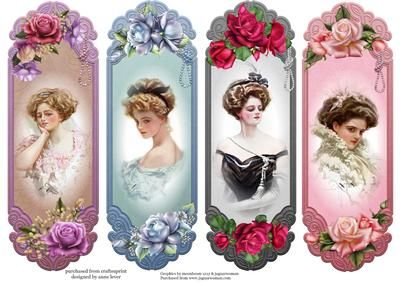 4 Vintage Floral Toppers Bookmarks on Craftsuprint designed by Anne Lever - This sheet contains 4 design, each of which can be used as a topper or as a bookmark. They feature vintage ladies painted by Harrison Fisher, with beautiful roses. - Now available for download!