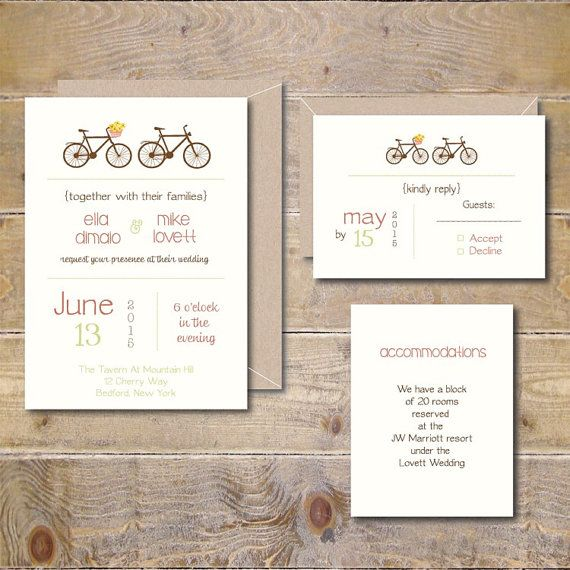 Bicycle Wedding Invitations. Bicycle Wedding Invites, Bike Themed Wedding Invites, Tandem Bicycle, Rustic Wedding- This Love is for Wheel