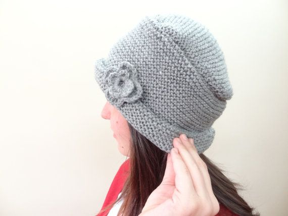 Grey Hat BeanieKnit Beanie Hand Knitted Beanie Gift by SwomanStore