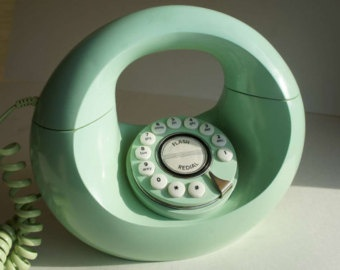 Telephone~Mint green donut telephone.
