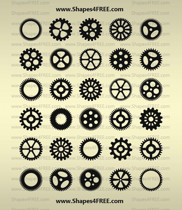 Huge set of 90 gears, cogs, etc. in Photoshop CSH format.  Love these!