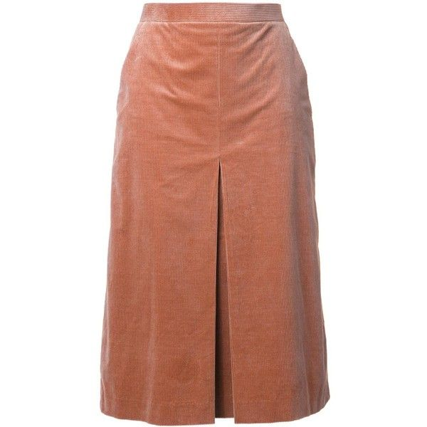 Cityshop box pleated pencil skirt ($158) ❤ liked on Polyvore featuring skirts, brown, pencil skirt, box pleat skirt, brown skirt, knee length pencil skirt and brown pencil skirt