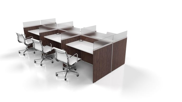 6 Pack carrel provides the users access to power & data - Shadow Oak laminate frame, frosted acrylic dividers & Nova white work-surface.