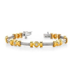 Diamant Armband Modell in Bi-Color Gold, Weißgold und Gelbgold von www.juwelierhausabt.de