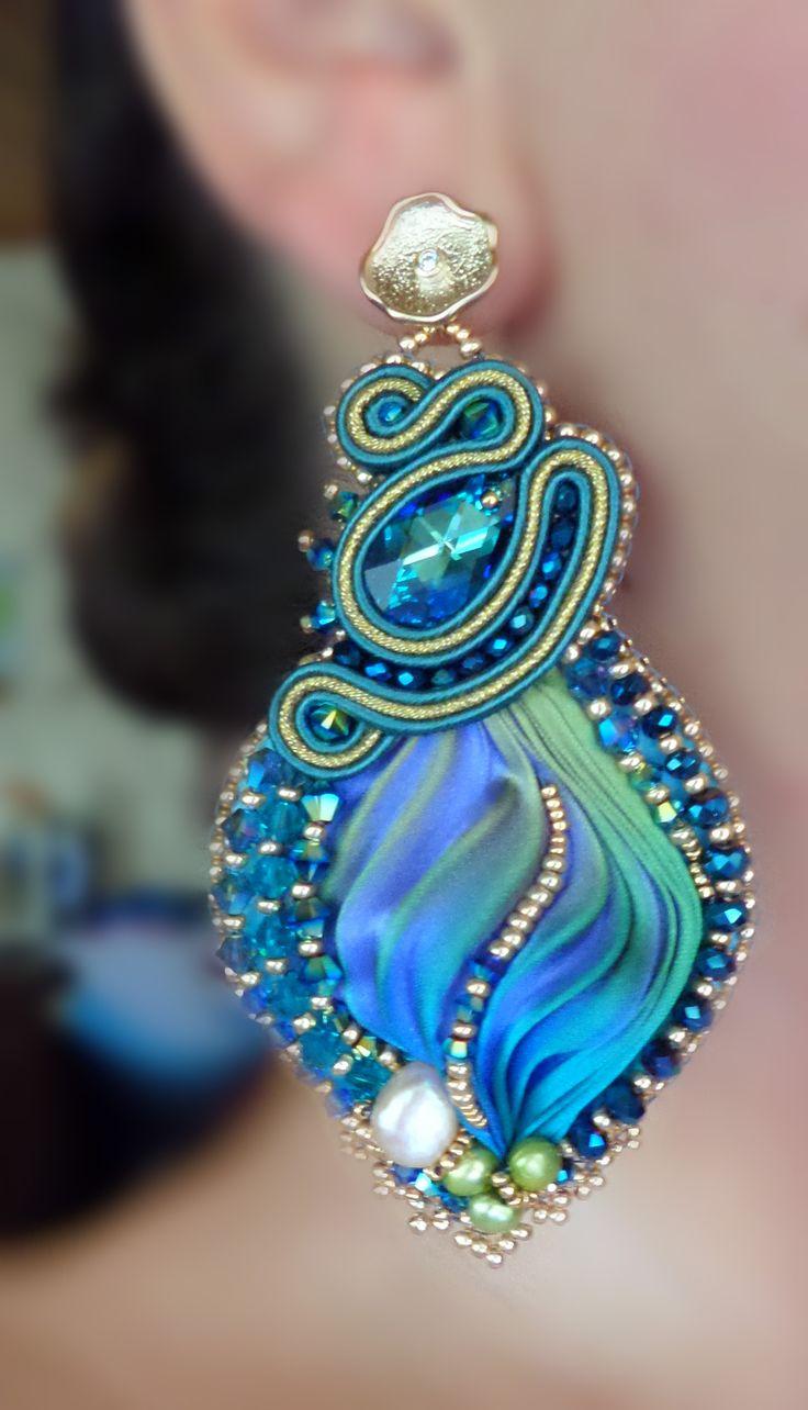 """EARRINGS, bead embroidery, shibori silk, soutache, swarovski. Designed by """"Serena Di Mercione Jewelry"""""""