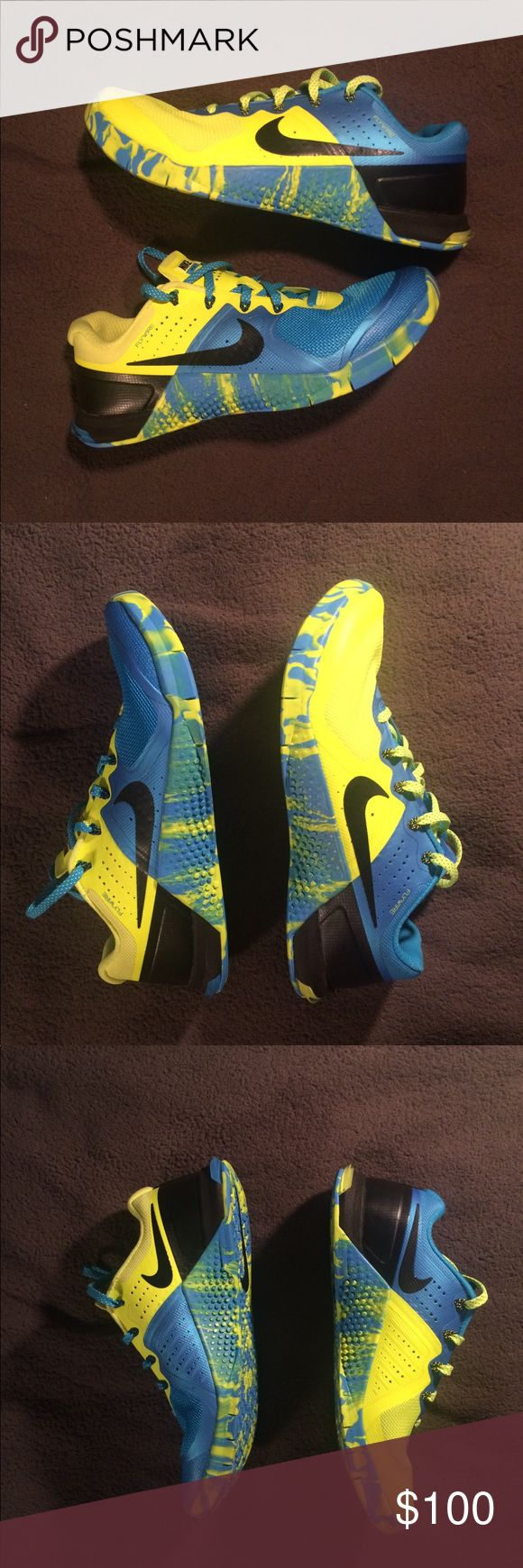 Nike Metcon 2 Amplify training shoes blue yellow Brand new, never worn. Super cool and vibrant shoes from the Nike Training line. MSRP $140. Market value is about $110+ shipping on these if you go to eBay and the like, so be sure to get the best price from me! Be sure to check out my Closet and filter by your size to see what else I'm offering! Thanks! Nike Shoes Athletic Shoes