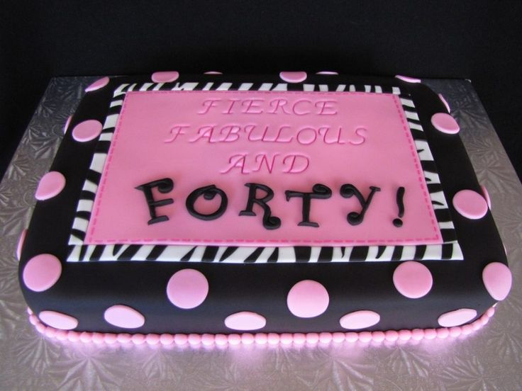 Birthday Cakes Images, 40 Rectangle Pink Blue Polka Dot And Zebra Pattern Fierce Fabulous Forty 40th Cake Ideas Pictures Decorating: Adorable Design Gallery