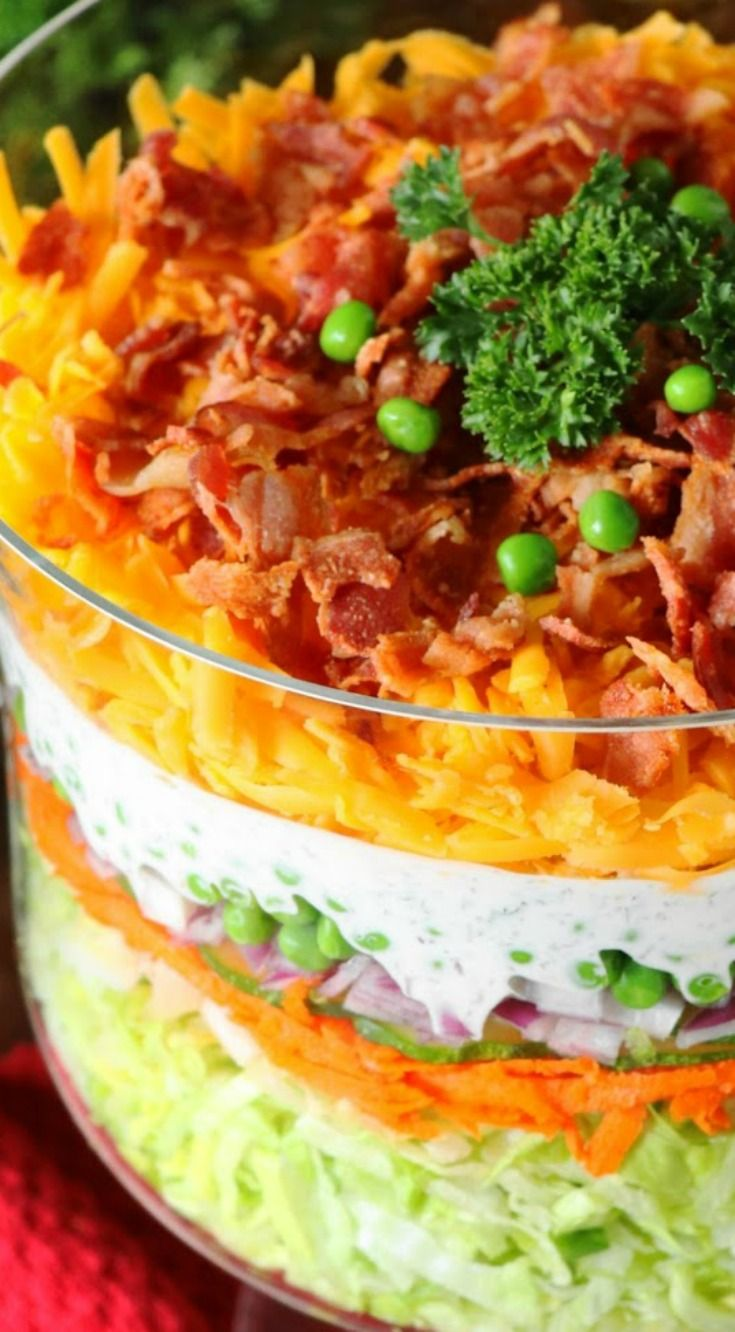 Make-Ahead Layered Salad (For a Crowd) ~ With make-ahead convenience and fabulous flavor, it's perfect for all those summer cookouts and get-togethers.