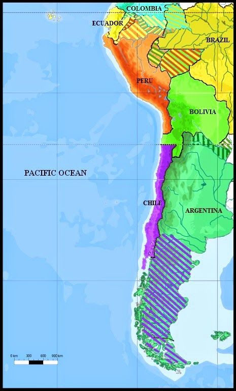 Map showing the boundries of Chile, Bolivia, Peru and Argentina towards the end of the 19th century, before the War of the Pacific. A great post, read more.