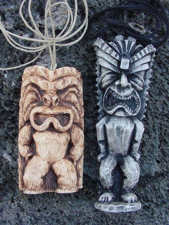 Set of 2 replica Tiki Necklaces from the Brady Bunch and Scrubs tv shows- Hawaiian pendants based on the ones from the tv shows