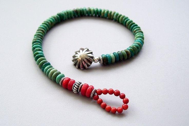 turquoise, coral, sterling silver button bracelet . southwestern turquoise bracelet. $55.00, via Etsy.