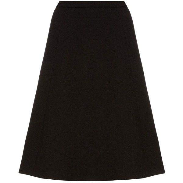 Oscar De La Renta A-line brushed-wool midi skirt (10.735 HRK) ❤ liked on Polyvore featuring skirts, black, a-line skirts, knee length a line skirt, high waisted flare skirt, flare skirts and flared midi skirt