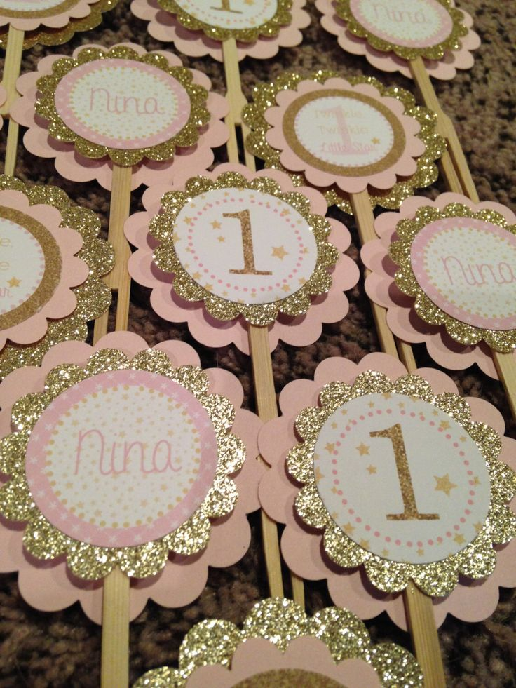Twinkle Twinkle Little Star Collection: 12 Cupcake Toppers. Pink and Gold. Glitter. Stars. Elegant. Girly. First Birthday Cupcake Picks. by stampinfanatic on Etsy https://www.etsy.com/listing/219408001/twinkle-twinkle-little-star-collection